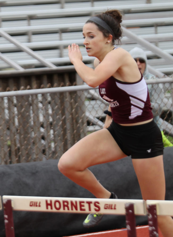 April Polansky competes at the Intercoastal Relays meet at home on March 10. She placed second in the 300-meter hurdles. She won first place in the event at the state UIL meet in Austin on May 12.