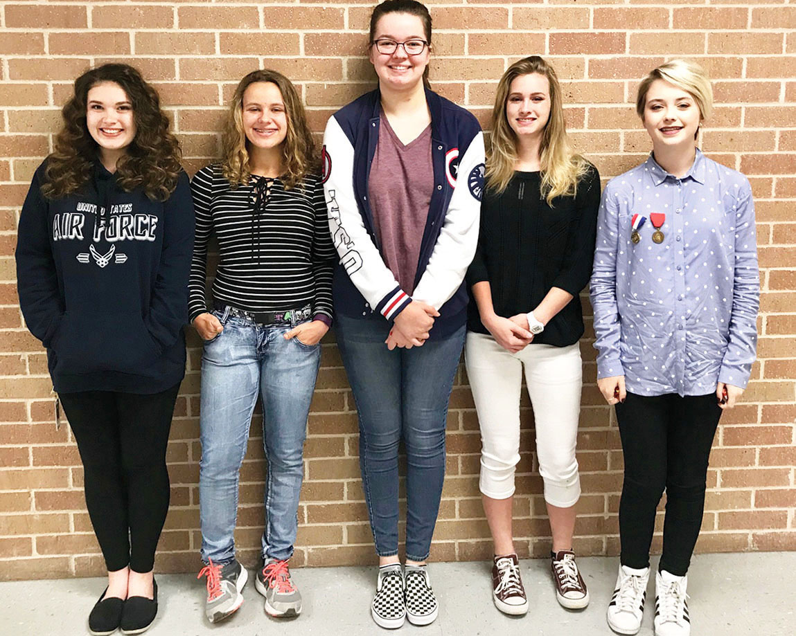 Junior Anna Larsen, and freshmen Brooke Madland, Marlena Osgood, Emilie Howard and Kayla-Anne McKamie all advanced to the state Visual Arts Scholastic Event state contest. Madland, Osgood and Howard all medaled at the event.