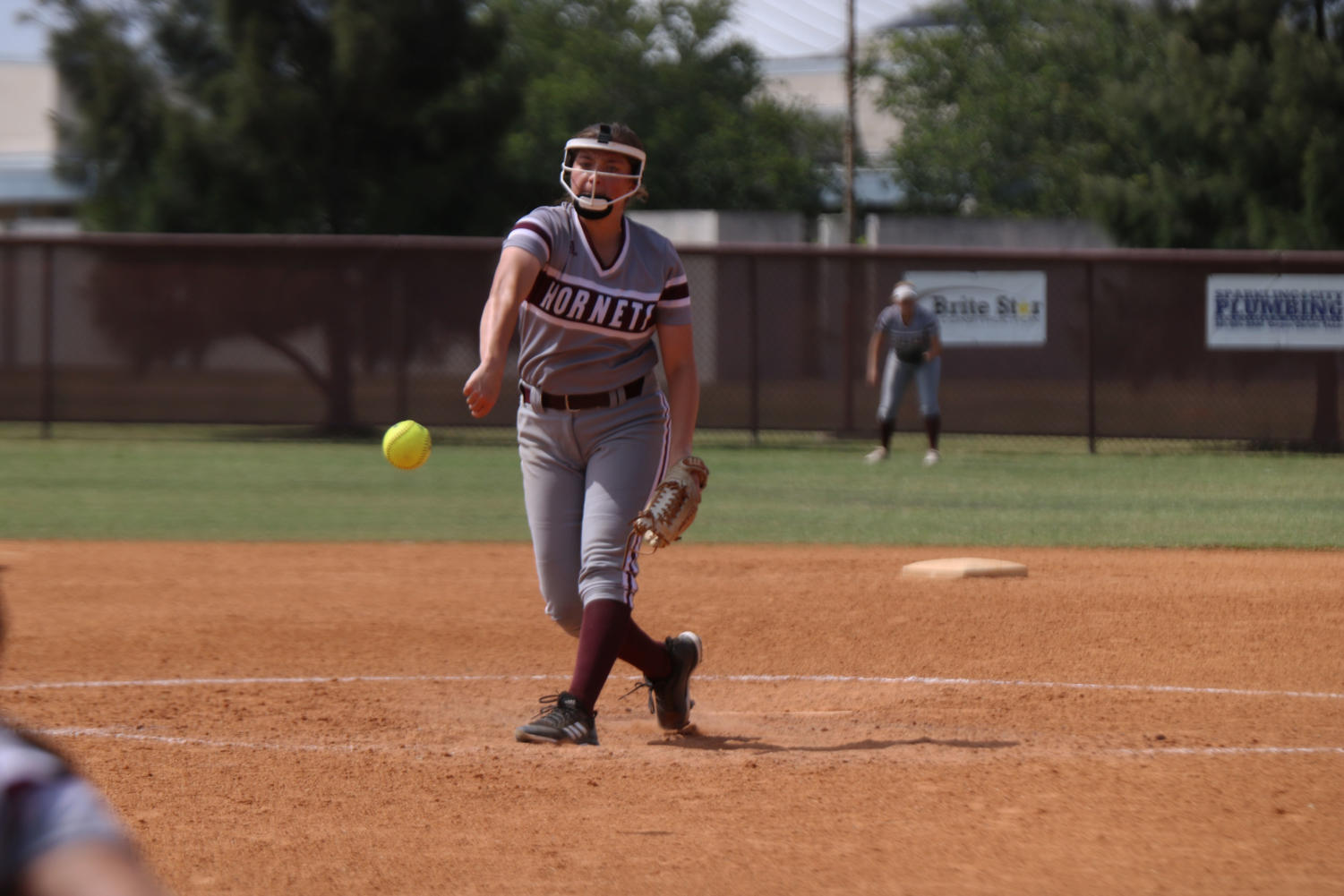 Junior Kayci Spittler pitches  in the region quarterfinals playoff game vs Calallen on May 12.  The lady Hornets fell 5-3.